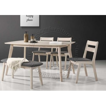 Preston Dining Table + 4 Chairs + 1 Bench