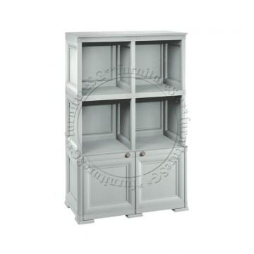 Tontarelli - 2 Open Shelves + 1 Door Cabinet Unit (Grey)