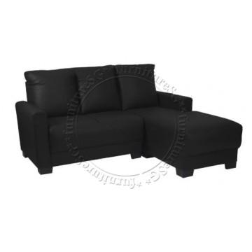 Clement L-Shape Sofa (Black)