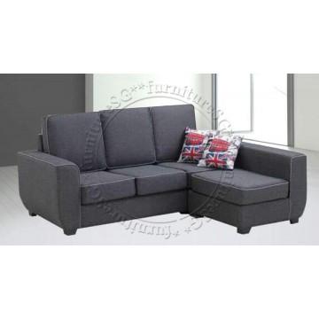 Carrie Fabric 3-Seater Sofa + Stool