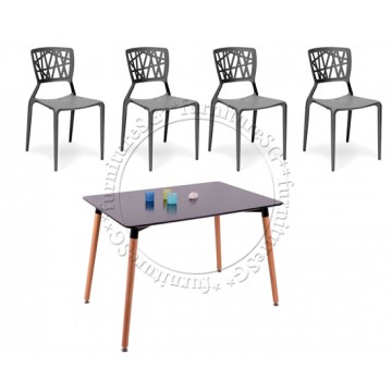 Santiago Dining Table Set (Table+4 Chairs) Black