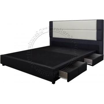 Madeline Fabric Storage Bed (Dark Grey and White)