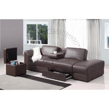 Jacob Faux Leather Storage Sofa (Brown)