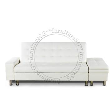 Lisbon Faux Leather Storage Sofa (Cream)