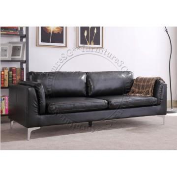 Leeson Faux Leather Sofa - Black