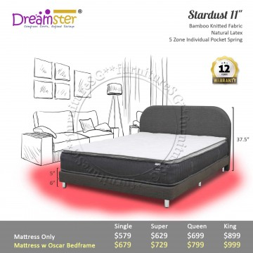 """Dreamster Stardust 11"""" Pocketed Spring Mattress 
