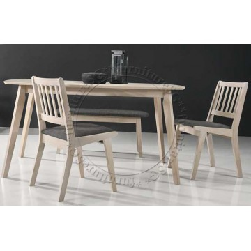 Dover Dining Table Set (Table + 1 Bench + 2 Chairs)