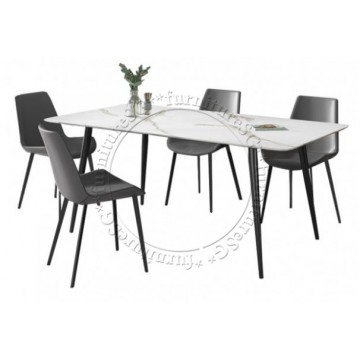 Venice Dining Set (Table + 4 Chairs) - Grey