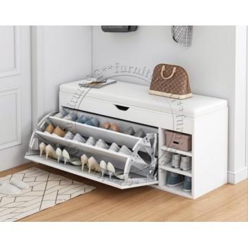 Shoe Cabinet cum Bench 100cm (White)