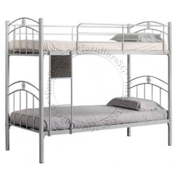 Double Deck Bunk Bed DD1035 (Silver/Black/White)