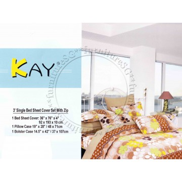 Single Bed Sheet Cover Set with Zip Set