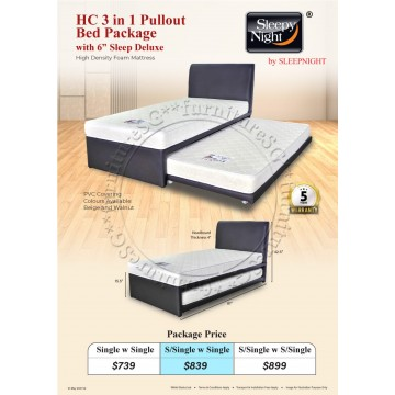 Sleepy Night HC 3 in 1 Pullout Bed Package (With 6 inch Sleep Deluxe Mattress)