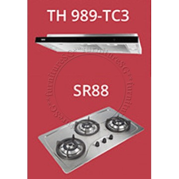 Tecno slim hood with revolutionary 3-motor design and LED touch control (TH989-TC3) + Tecno 90cm Built-In Hob (SR-888)
