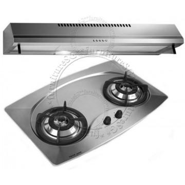 Tecno 70cm Built-In Hob With Safety Valves (Mini 2SV) + Tecno 90cm Slim Line Hood (KA-298)