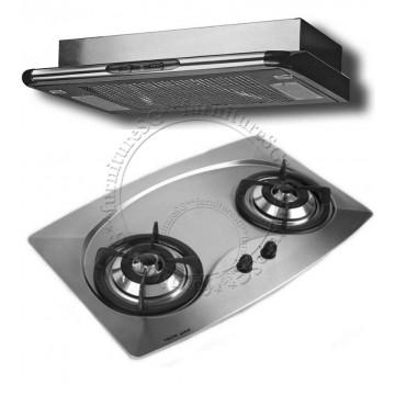 Tecno 70cm Built-In Hob With Safety Valves (Mini 2SV) + Tecno 60 cm slim line cookerhood (TB-68)