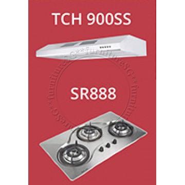 Tecno 90cm Built-In Hob (SR-888) + Tecno Slim Line Designer Hood with Maxi-Flow Motor (TCH 900SS)