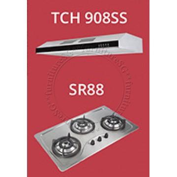 Tecno Slim Line Designer Hood with Maxi-Flow Motor (TCH 908SS) +Tecno 90cm Built-In Hob (SR-88)