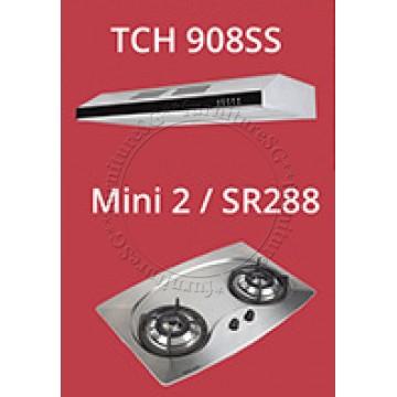 Tecno Slim Line Designer Hood with Maxi-Flow Motor (TCH 908SS) + Tecno 70cm Built-In Hob (Mini 2)