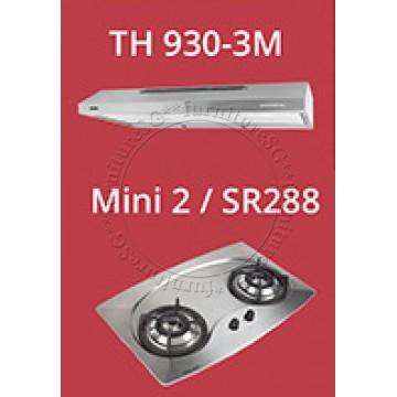 Tecno 90cm slim hood with revolutionary 3 motor design (TH930-3M) + Tecno 70cm Built-In Hob (Mini 2)