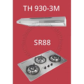 Tecno 90cm slim hood with revolutionary 3 motor design (TH930-3M) + Tecno 90cm Built-In Hob (SR-88)