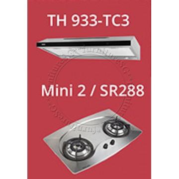 Tecno 90cm slim hood with revolutionary 3-motor design and LED touch control (TH933-TC3) + Tecno 70cm Built-In Hob (Mini 2)