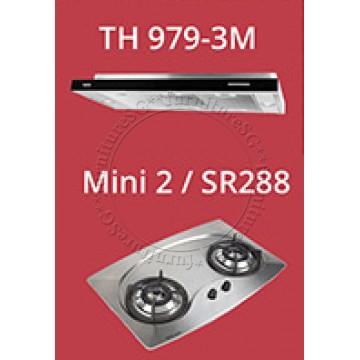 TECNO 90cm slim hood with revolutionary 3 motor design (TH 979-3M) + Tecno 70cm Built-In Hob (Mini 2)