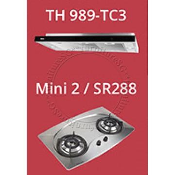 Tecno slim hood with revolutionary 3-motor design and LED touch control (TH989-TC3) + Tecno 70cm Built-In Hob (Mini 2)