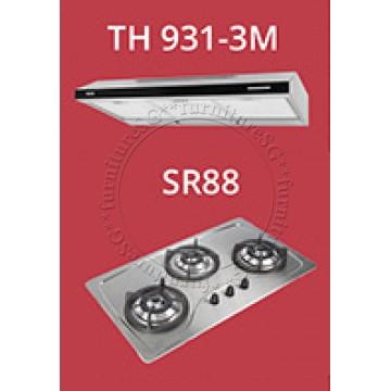 Tecno 90cm slim hood with revolutionary 3 motor design and black acrylic panel (TH931-3M) + Tecno 90cm Built-In Hob (SR-88)
