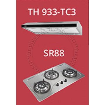 Tecno 90cm slim hood with revolutionary 3-motor design and LED touch control (TH933-TC3) + Tecno 90cm Built-In Hob (SR-88)