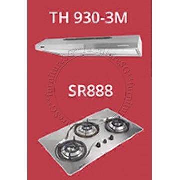 Tecno slim hood with revolutionary 3 motor design (TH930-3M) + Tecno 90cm Built-In Hob (SR-888)