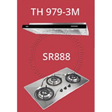 TECNO 90cm slim hood with revolutionary 3 motor design (TH 979-3M) + Tecno 90cm Built-In Hob (SR-888)