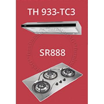 Tecno 90cm slim hood with revolutionary 3-motor design and LED touch control (TH933-TC3) + Tecno 90cm Built-In Hob (SR-888)