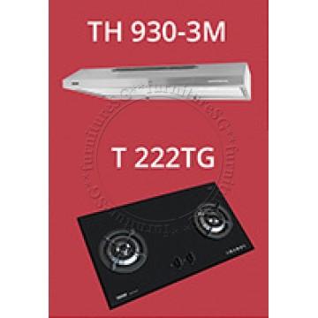 Tecno 90cm slim hood with revolutionary 3 motor design (TH930-3M) + Tecno 2 Burner 90cm Tempered Glass Hob (T222TG)