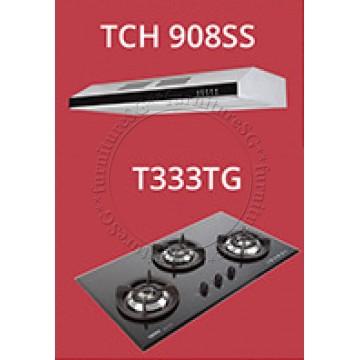 Tecno 90cm Tempered Glass Hob T333TG (V.V.S) + Tecno Slim Line Designer Hood with Maxi-Flow Motor (TCH 908SS)