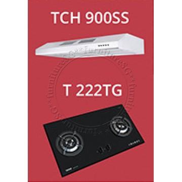 Tecno Slim Line Designer Hood with Maxi-Flow Motor (TCH 900SS) + Tecno 2 Burner 90cm Tempered Glass Hob (T222TG)