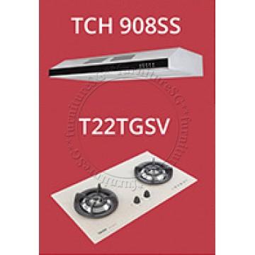 Tecno Slim Line Designer Hood with Maxi-Flow Motor (TCH 908SS) + Tecno 70cm Tempered Glass Hob With Safety Valve (T22TGSV)