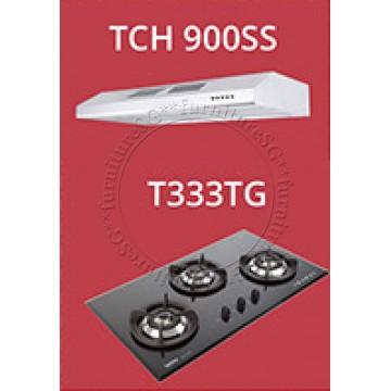Tecno Slim Line Designer Hood with Maxi-Flow Motor (TCH 900SS) +Tecno 90cm Tempered Glass Hob T333TG (V.V.S)