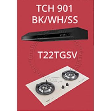 Tecno Slim Line Designer Hood with Maxi-Flow Motor (TCH 901) + Tecno 2 Burners 90cm Tempered Glass Hob With Safety Valve (T222TGSV)