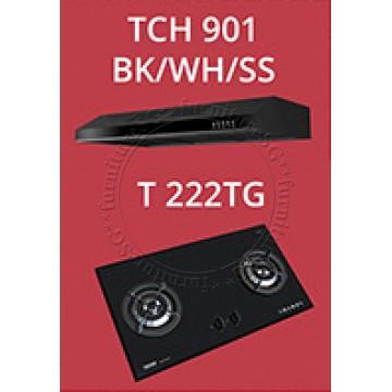 Tecno Slim Line Designer Hood with Maxi-Flow Motor (TCH 901) + Tecno 2 Burner 90cm Tempered Glass Hob (T222TG)