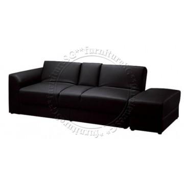 Jacob Faux Leather Storage Sofa (Black)