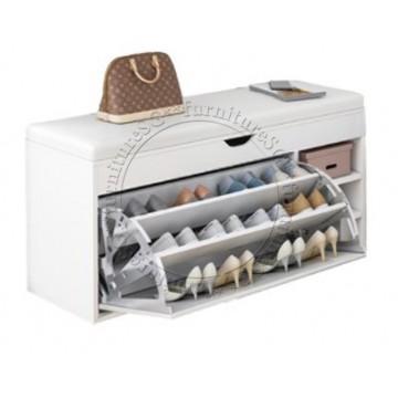 Shoe Cabinet cum Bench 80cm (White)